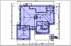 Residential house plan detail & roof projection view dwg file