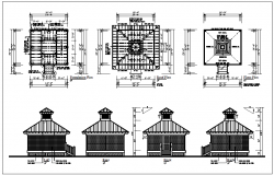 Residential house plan layout, roof plan & elevation view of house detail dwg file