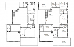 Residential house plan with detail dimension in dwg file