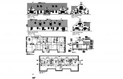 Residential house plan with different elevation and section in autocad