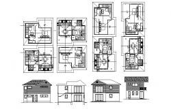 Residential house with elevation and section in dwg file