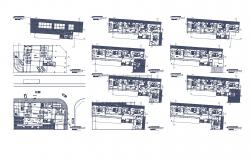 Residential house with furniture detail in dwg file
