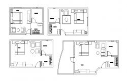 Residential house with furniture layout in dwg file