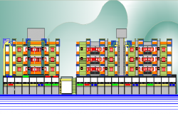Residential housing apartment building elevation details dwg file