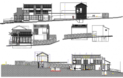 Residential housing bungalow elevation and sectional details dwg file