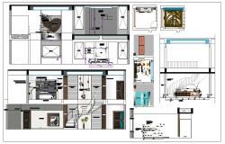 Residential housing plan layout detail dwg file