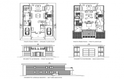 Residential housing structure 2d view elevation and plan layout dwg file