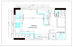 Residential kitchen plan layout detail dwg file