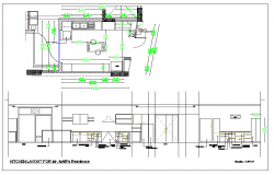 Residential kitchen plan view and elevation detail dwg file