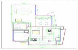 Residential kitchen plan view & furniture with dimension detail dwg file