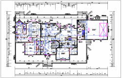 Residential luxurious house plan view detail dwg file,