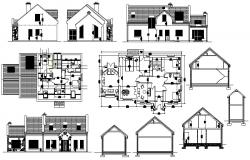 Residential one family house detailed architecture project dwg file