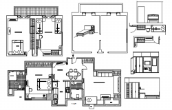 Residential single family house with furniture details in AutoCAD
