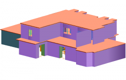 Residential view in 3d view with two level dwg file
