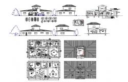 Residential villa type bungalow detailed architecture project with doors and windows details dwg file