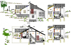 Resort Design and Elevation Plan dwg file