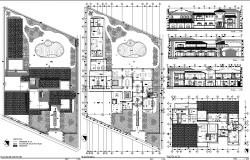 Resort Layout plan and elevation view dwg file