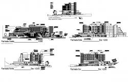 Resort building structure detail elevation and section layout autocad file