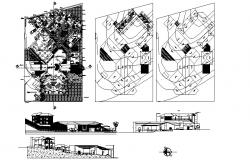 Resort design drawing with elevations in autocad