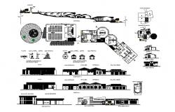 Resort elevation, section, floor plan, plan and auto-cad details dwg file