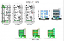 Rest bar hotel plan,elevation and section view dwg file