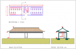 Rest room detail plan section elevation view dwg file
