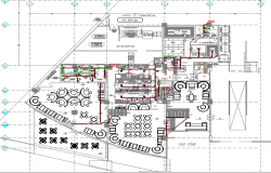 Restaurant architecture layout project dwg file