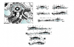 Restaurant building area detail plan and elevation layout file