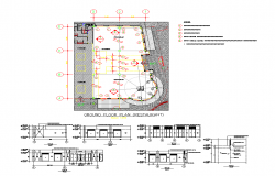 Restaurant building detail plan and elevation 2d view autocad file