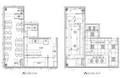 Restaurant building detail plan layout dwg file