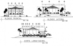 Restaurant building elevation and section detail layout dwg file