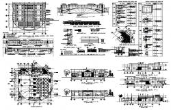 Restaurant building structure detail 2d view layout plan and section autocad file