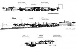 Restaurant building structure detail elevation and section layout file in dwg format