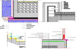 Restaurant constructive details with staircase and column dwg file