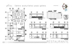 Restaurant elevation, section and plan cad drawing details dwg file