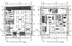 Restaurant housing hostel autocad file