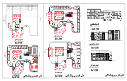 Restaurant kitchen & Dining area plan dwg file