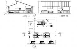 Restaurant kitchen design with detail dimension in autocad