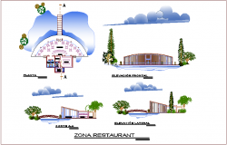 Restaurant plan,elevation and section view for youth development center dwg file