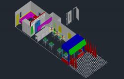Restaurant plan with interior design in AutoCAD