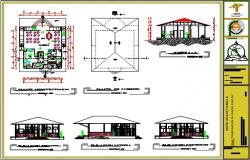 Restaurant plan with section and elevation.
