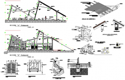 Restaurant section plan detail autocad file
