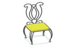 Retro steel chair detail elevation 3d  model autocad file