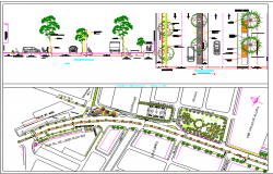 Revitalization green area details of city project dwg file