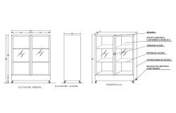 Revolving shelf elevation and section block cad drawing details dwg file