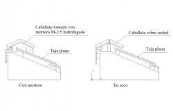 Ridge roof tiles detail dwg files