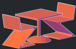 Rietveld Chairs And Tablein 3d