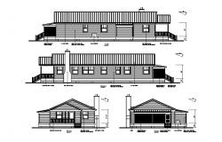 Right, left, front and rear elevation details of one family house dwg file