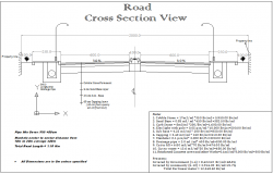 Road cross section view detail dwg file