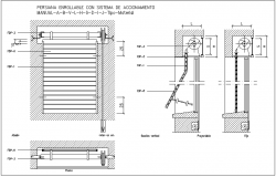 Rolled shutter door design view with plan and sectional view dwg file